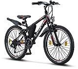 Licorne Bike Guide (Schwarz/Rot/Grau) 24 Zoll...